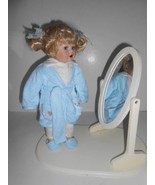"""COLLECTIONS ETC PORCELAIN 12-1/2"""" BATHTIME DOLL WITH MIRROR ON STAND REA... - $9.95"""