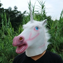 Unicorn Mask Helmet Halloween Cosplay Season Natural Platex White Face - $38.08 CAD