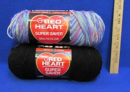 Yarn Red Heart Black & Monet Variegated Blue Purple Green Pink 2 Skeins - $9.89