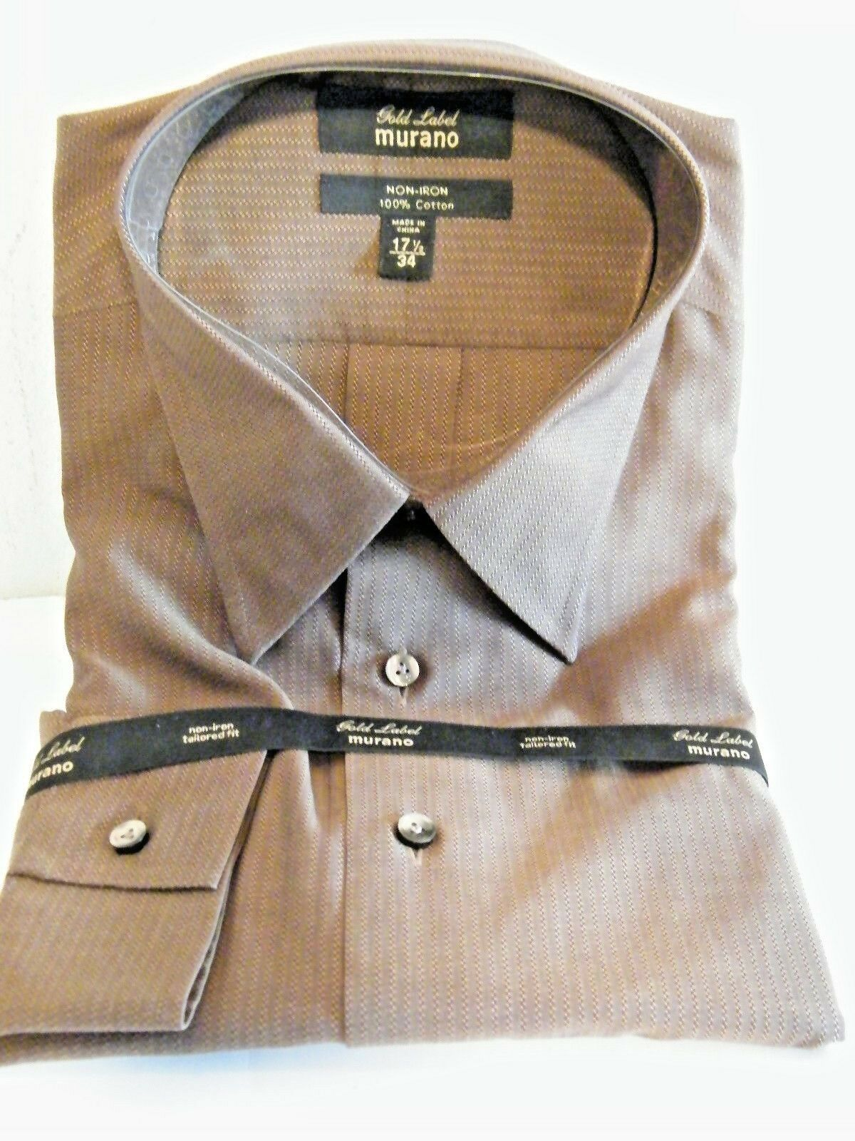 4ef676ae Murano Gold Label Mens Dress Shirt Brown Size XL 17.5 34 L88 - $18.76