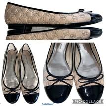 ETIENNE AIGNER logo Quilted Satin Patent Ballet Flat Shoes 8 M Pink Black - $34.99