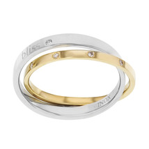 18K Yellow Gold Steel Diamonds Ladies Ring Bliss by Damiani 0.11 Cttw Size 9 - $334.00