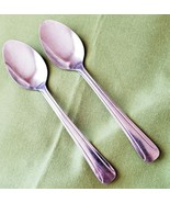 """Delco Stainless 2 Teaspoons Dominion III Pattern 6"""" Incised Lines #405697   - $5.40"""
