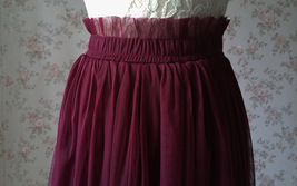 BURGUNDY Wedding Full Long Tulle Skirt Burgundy Wine Red Bridesmaid Outfit Plus image 8