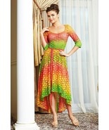 PARTY LACE DRESS STRETCH ELBOW SLEEVE ASYMMETRIC SKIRT MADE IN EUROPE S ... - $145.00
