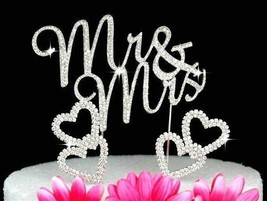 Mr & Mrs Crystal Cake Toppers and 2 Hearts Cake Picks Wedding Cake Toppers - $17.61