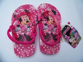 Disney Minnie Mouse Flip Flops Girls Size M (7/8) Junior Pink Sandals Childs - $9.57