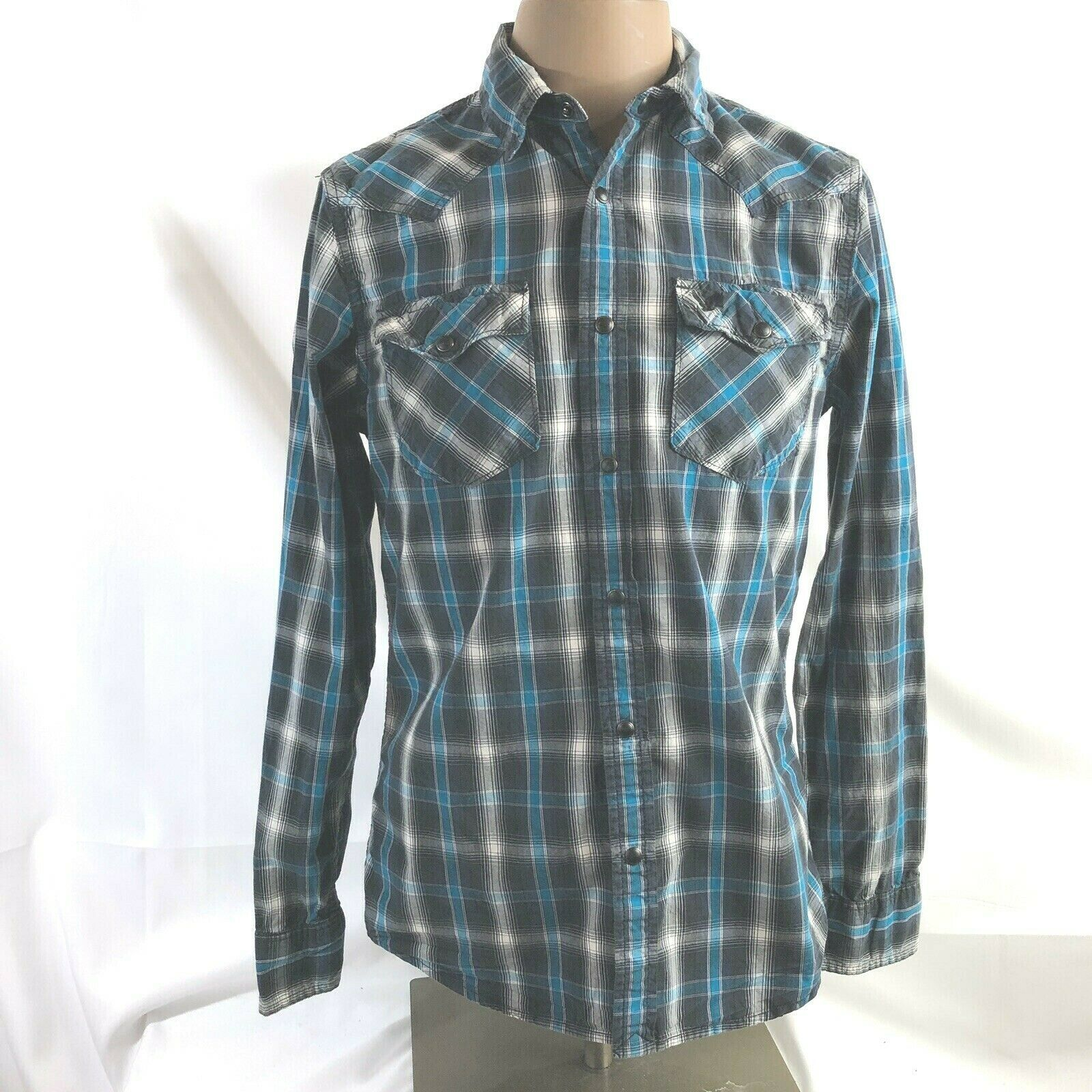 Primary image for American Eagle Outfitters Mens Plaid Pearl Snaps Shirt Small Black Blue
