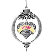 Inspired Silver Wifey Yellow Candy Pave Heart Holiday Ornament - $14.69