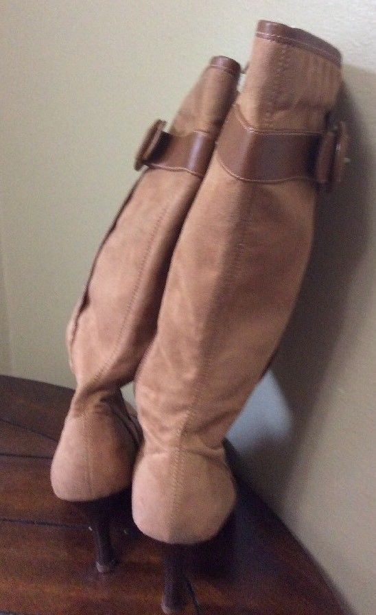 Predictions Light Brown Tan Faux Suede High Heel Side Zip Buckle Boots Size 8