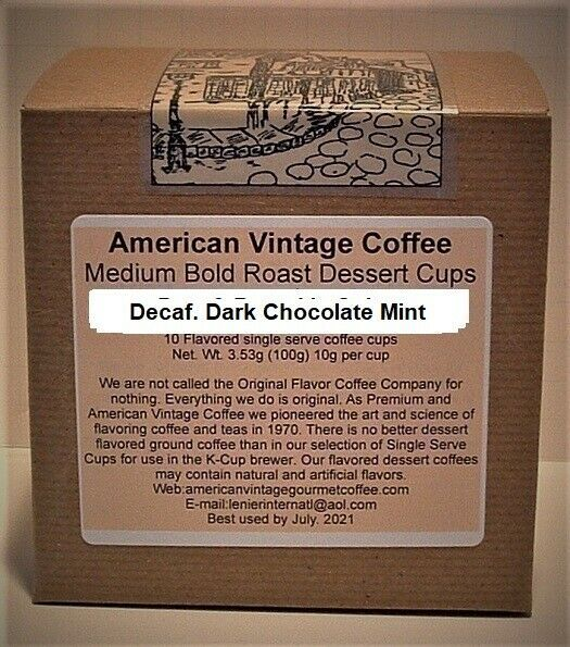 Primary image for Decaf. Dark Chocolate Mint Dessert Coffee 10 Medium Bold Roasted K-Cups