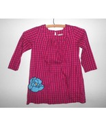 Hanna Andersson Girls Dress 100 Size 4 Magenta Pink Square Neck Blue Flower - $15.82