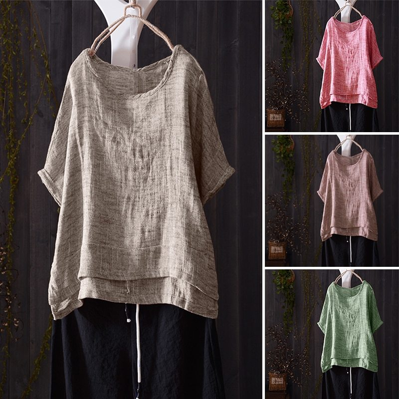 2018 ZANZEA Women O Neck Short Batwing Sleeve Summer Blouse Casual Solid Shirt C