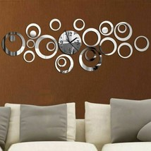 Quartz Wall Clock Europe Large Decorative Clocks 3d Acrylic Mirror Livin... - $15.89