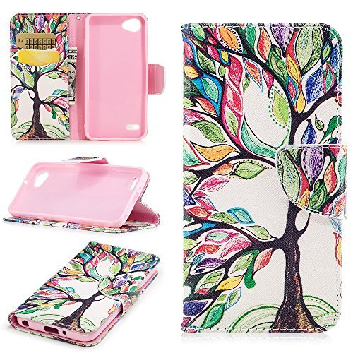 XYX Wallet Phone Case for LG Q6,[Tree of Life][Kickstand][Wrist Strap][Card Slot