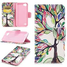 XYX Wallet Phone Case for LG Q6,[Tree of Life][Kickstand][Wrist Strap][C... - $9.88