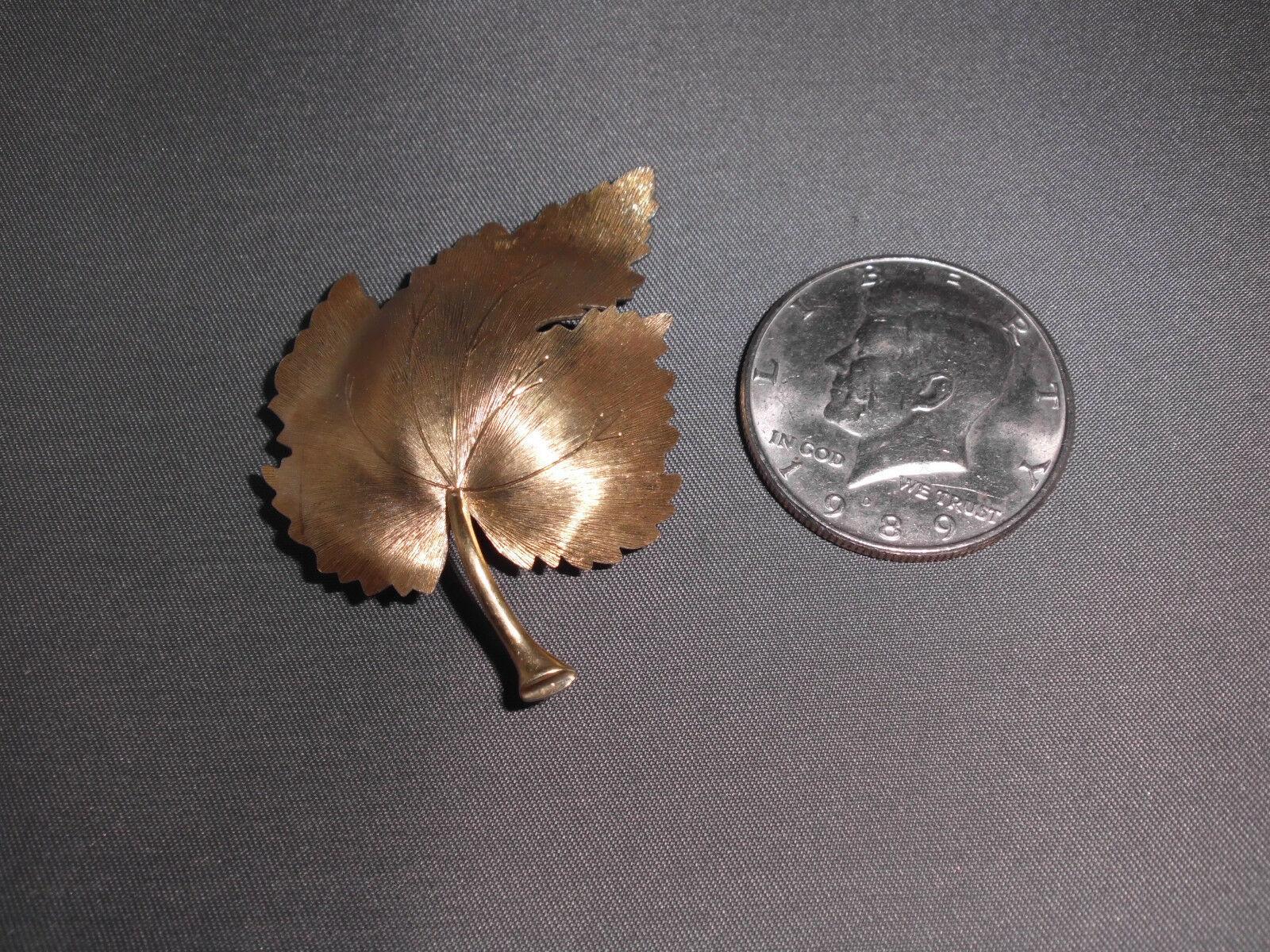 Vintage Satin Matte Gold Tone Ornate Leaf Pin Brooch