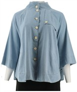 Joan Rivers Button Front Denim Cape Chambray XS NEW A302669 - $62.35