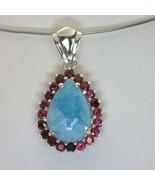 Pendant Sky Blue Larimar Red Purple Rhodolite Garnet Silver Ladies Desig... - $142.50