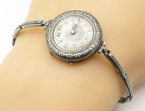 925 Silver - Vintage Antique Greek Key Detail Watch Chain Bracelet - B5095