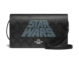 Coach x Star Wars Hayden foldover crossbody clutch in Signature Pvc & Le... - £56.52 GBP