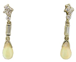 14k Gold Briolette Genuine Natural Opal Earrings with Twelve Diamonds (#... - $750.00