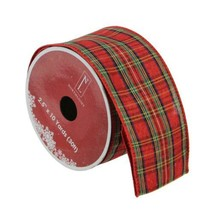 "Northlight Red Poinsettia Print Gold Wired Christmas Craft Ribbon 2.5"" - $9.64"