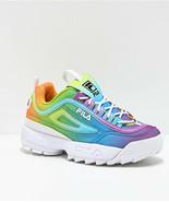 Neuf Fila Disruptor II Premium Tie And Dye Plateforme Femmes Rainbow Cha... - $98.94+