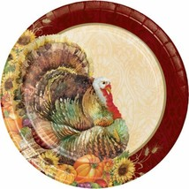 "Regal Turkey 8 Ct 10"" Banquet Dinner Plates Thanksgiving Fall Flowers Pu... - $7.09"