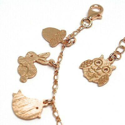 925 Silver Bracelet, Rabbit, Squirrel, Deer, Hedgehog, Owl, le Favole image 4