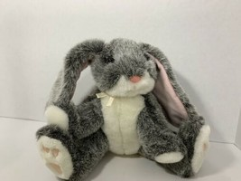 Russ Berrie Bouncy plush grey bunny rabbit with white ribbon bow sitting... - $4.94