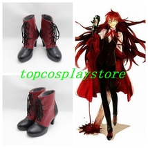 Black Butler Grell Sutcliff Cosplay Shoes Boots black and red  - $62.00