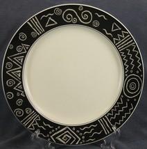 Mikasa Star Track CP006 Dinner Plate Black Band White Geometrics Fashion Plate - $31.95