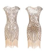 Women 1920s Charleston Flapper Costume Gold Sequin Fringe Gatsby Dress - $55.00