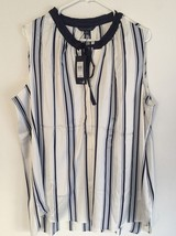 NWT Tommy Hilfiger Women's Striped Sateen Blouse Tunic Top Navy/White Si... - $27.81