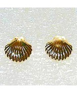 Scallop shell gold stud earring - $29.95
