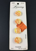 """Lansing 9763 Sz 24 (5/8"""") 4 on Card Orange and Yellow Shank Buttons Vintage - $4.21"""