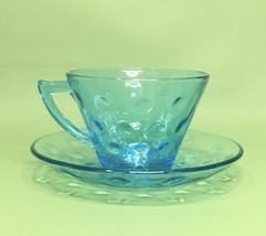 Vintage Blue Bubble Glass Tea Cups With Saucers Mid-Century Preowned - $17.13