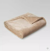 Threshold Microplush Bed Blanket, Brown Linen, Full/Queen, New Open Package - $37.79
