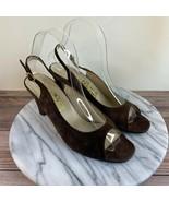 Salvatore Ferragamo Brown Leather Peep Toe Slingback Heels Womens Size 7.5 - $49.95