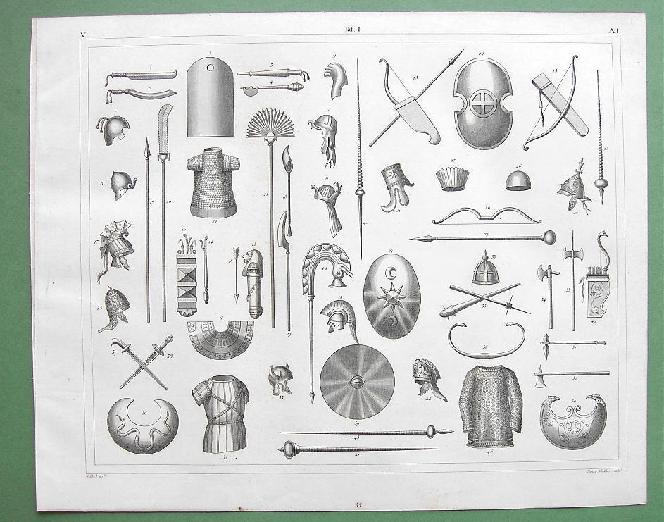 Primary image for ANCIENT ARMOR Helmets Shields Spears Bows -1844 SUPERB Antique Print Engraving