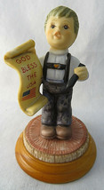 "GOEBEL Berta Hummel God Bless the USA Goebel BOY Figurine BH 44 2003 3""1... - $15.00"
