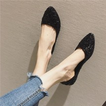 Sequin Black Ballet Flats Slippers Shoes Evening flats Party flats Weddi... - £39.24 GBP