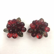 Vintage West Germany Beaded Clip On Earrings Red Cluster - $12.58