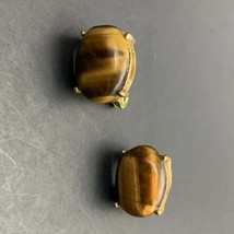 Monet Tigers Eye Clip On Earrings Stone Cabochon Gold Tone Vintage Signed - $14.80
