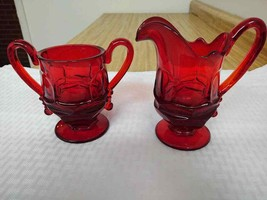 Vintage heavy walled red glass sugar/creamer. Amberina? - $41.73