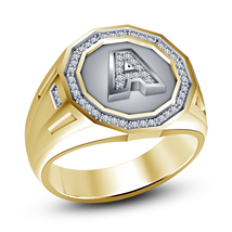 """14k Yellow Gold Plated 925 Silver White Sim Diamond Initial """"A"""" Ring Free Ship - $108.99"""