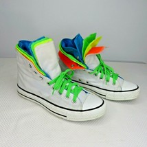 Converse Quad Fold Hi Top White Neon Blue Orange Yellow Green 9 Womens 7... - $69.25