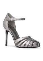New Michael Kors Gray Silver Leather Mari Jane Pumps Size 8 Size 8.5 $128 - $52.24+