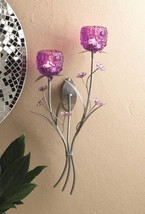 Fushsia Blooms Glass Cups on Silvery Leaf Stem Candle Holder Wall Sconce - $24.20